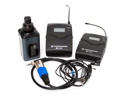 Sennheiser Lavalier wireless microphones with XLR transmitter for handheld or board use.