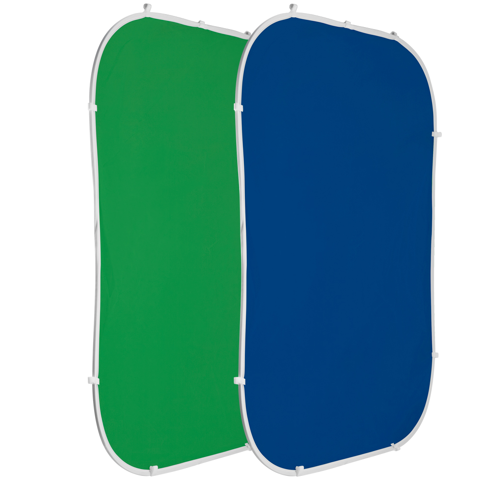Green and blue flexible popout screens.
