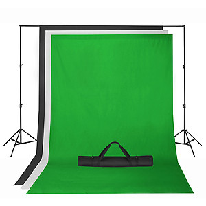 Green Screen and various cloth backdrops.