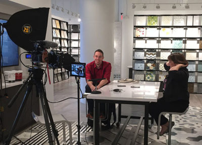 At the Boston Design Center for a quick e-vite announcement to be placed on social media.