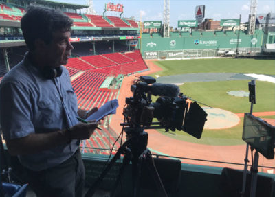Interviewing clients at Fenway Park, home of the Red Sox.